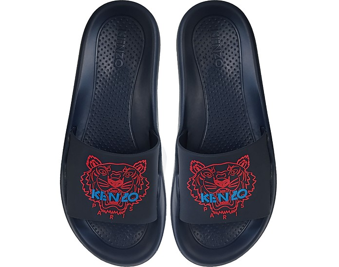 Navy Blue Tiger Women's Flat Sandals - Kenzo
