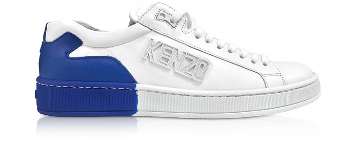 White and French Blue Tennix Sneakers - Kenzo