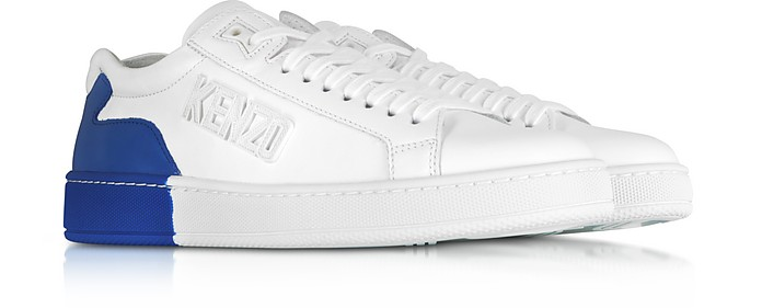 7038fda5d7 Kenzo White and French Blue Tennix Sneakers 35 IT (5 US   2 UK   36 ...