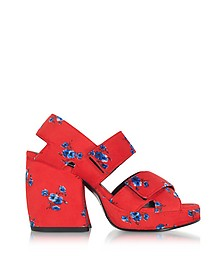 Red Fabric Memento Heeled Platform Sandals - Kenzo