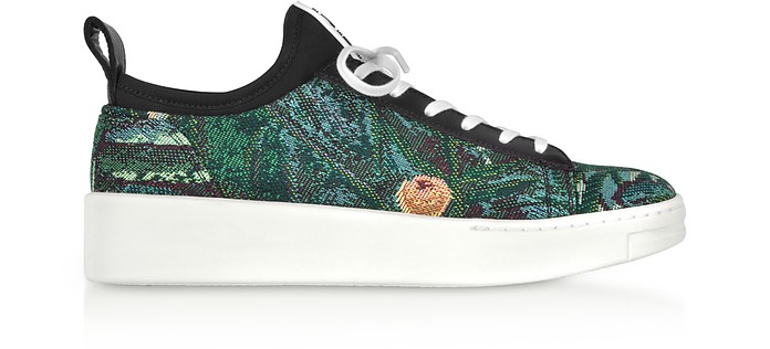 K-City - Sneakers Basses Femme en Toile Jacquard et Cuir Noir - Kenzo