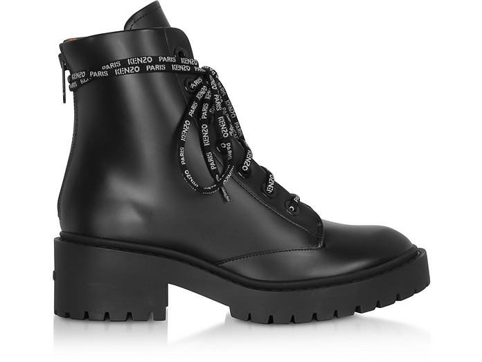 Kenzo Black Leather Women's Combat Boots - Kenzo
