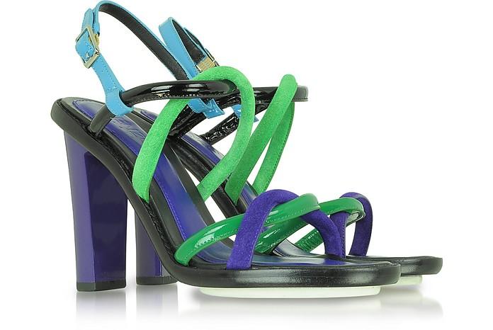 Color Block Nabuk and Patent Leather Sandal - Kenzo