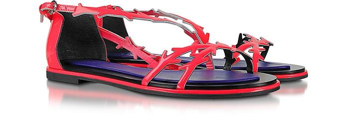 Neon Pink Patent Leather Flat Sandal - Kenzo