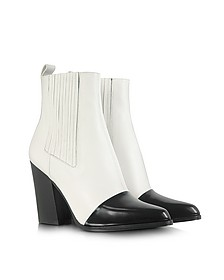 Color Block Leather Ankle Boot