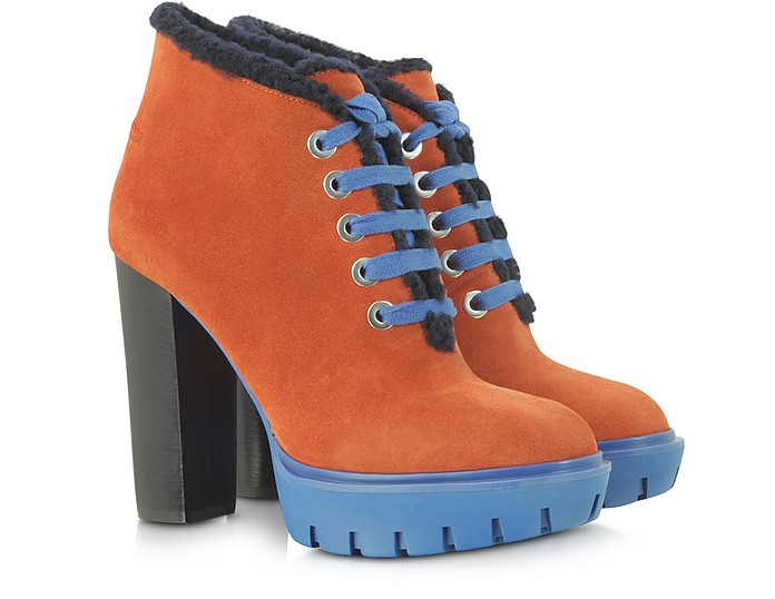 Rust Suede with Shearling Lace Up Platform Boot - Kenzo