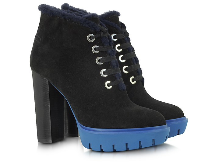 Black Suede with Shearling Lace Up Platform Boot - Kenzo