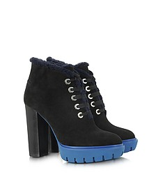 Black Suede with Shearling Lace Up Platform Boot