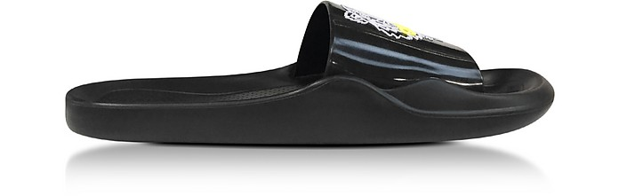 Black Men's Pool Sandals w/Tiger Logo - Kenzo