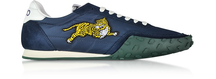 Navy Blue Nylon and Suede Kenzo Move Men's Sneakers - Kenzo