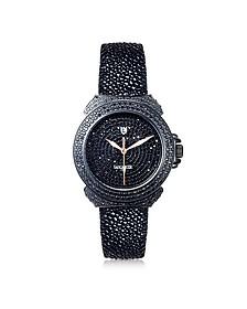 Pillola Deco' Black Women's Watch w/Diamonds