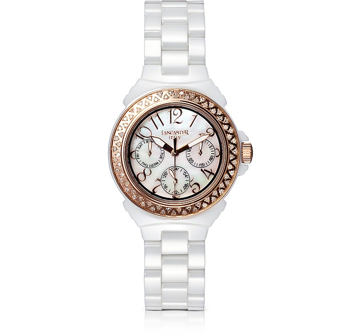 Ceramic Diamonds White Multifunction Quartz Movement Watch - Lancaster