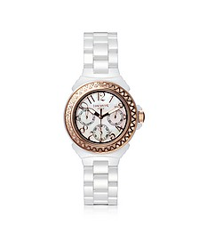 Ceramic Diamonds White Multifunction Quartz Movement Watch - Lancaster