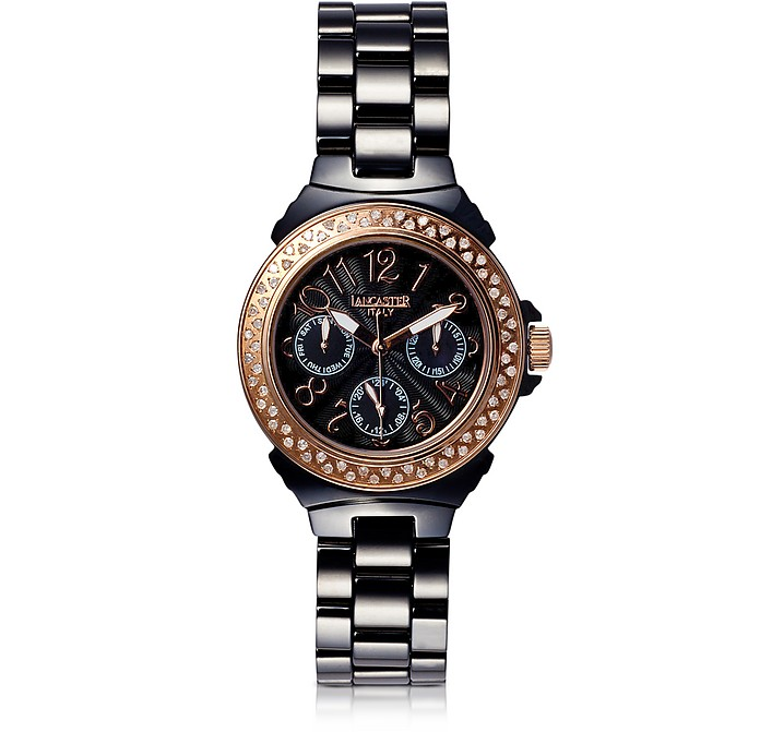 Multifunction Ceramic Diamonds Armbanduhr in schwarz  - Lancaster