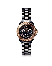 Ceramic Diamonds Black Multifunction Quartz Movement Watch - Lancaster