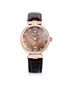 Chimaera Rose Gold Stainless Steel and Brown Croco Leather Watch - Lancaster