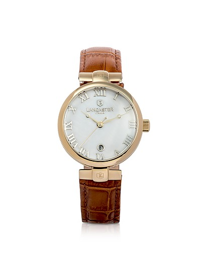 Chimaera Yellow Gold Stainless Steel and Brown Croco Leather Watch - Lancaster