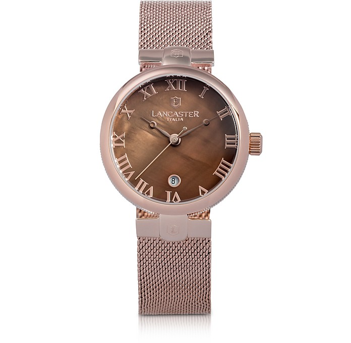 Chimaera Rose Gold Stainless Steel Watch w/Brown Dial  - Lancaster