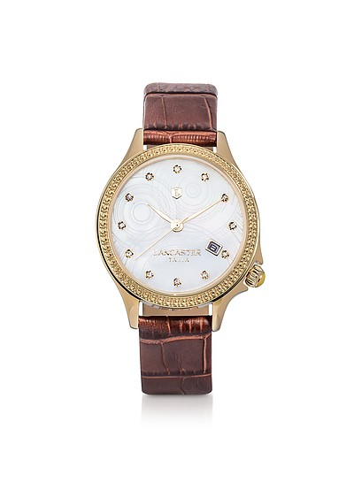 Goccia Gold Tone/Brown Croco Stainless Steel Watch - Lancaster