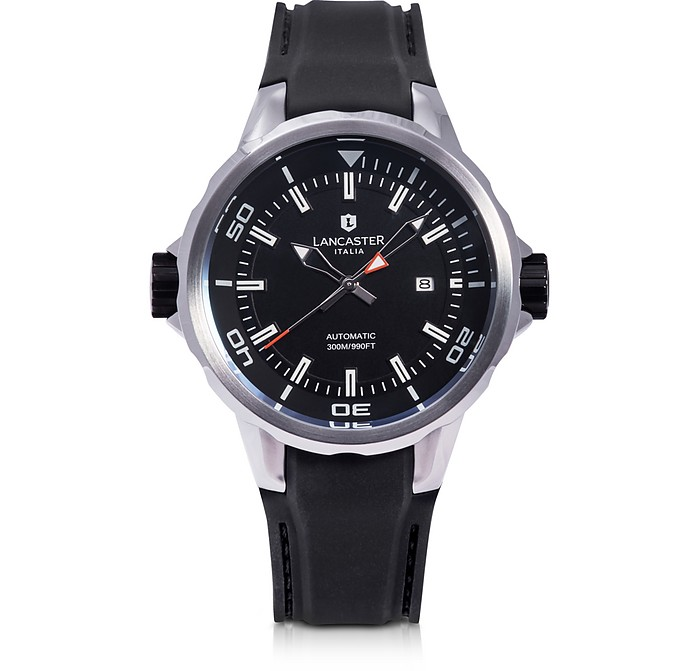 Space Shuttle Automatic Stainless Steel and Black Silicon Men's Watch - Lancaster