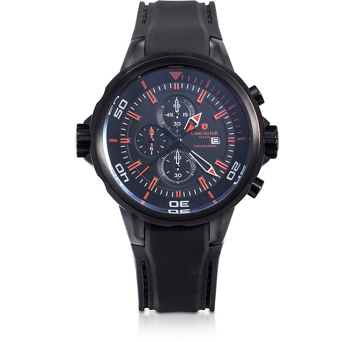 Space Shuttle Black Stainless Steel Chronograph Watch - Lancaster