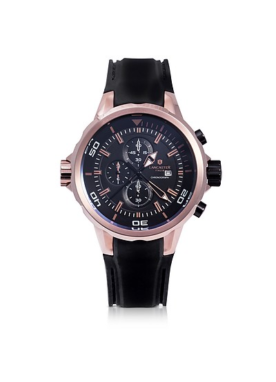 Space Shuttle Rose Gold PVD Stainless Steel Chronograph Watch - Lancaster