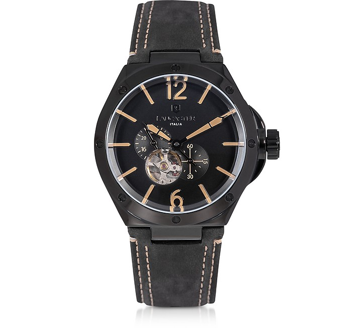 Space Shuttle Meccanico Black Stainless Steel and Nubuck Men's Watch - Lancaster