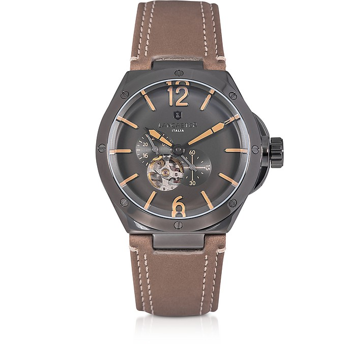 Space Shuttle Meccanico Gunmetal Stainless Steel and Natural Nubuck Men's Watch - Lancaster