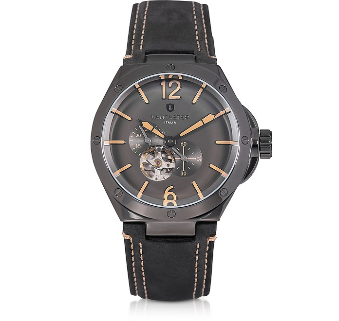 Space Shuttle Meccanico Gunmetal Stainless Steel and Black Nubuck Men's Watch - Lancaster