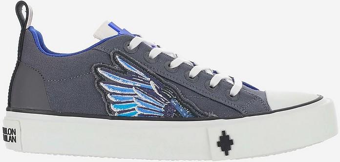 Grey Fabric Low Top Sneakers w/Wings - Marcelo Burlon