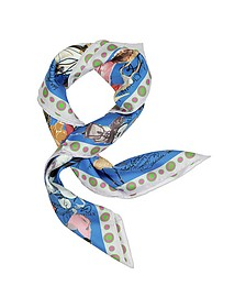 Croquis Blue Printed Silk Square Scarf