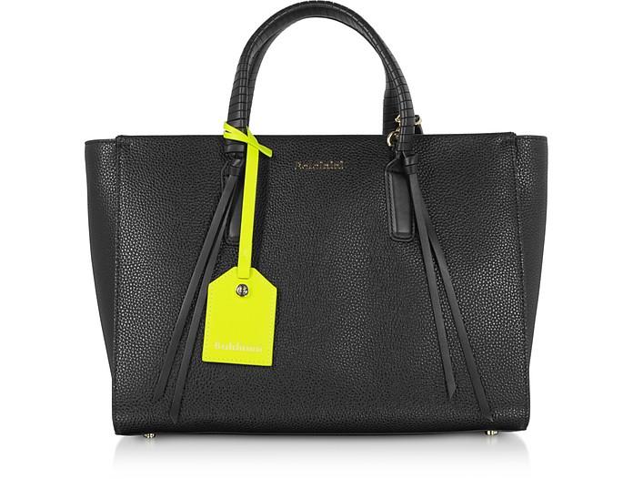 Daisy Black Leather Tote  Bag - Baldinini