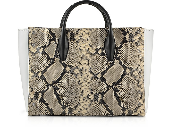 Python Embossed Eco-Leather Tote Bag - Baldinini / バルディニーニ