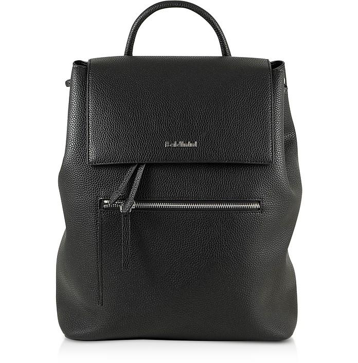 Black Eco-Leather Backpack w/Front Zip Pocket - Baldinini