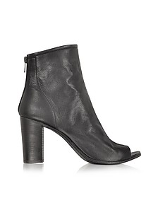 Black Leather Open Toe Bootie