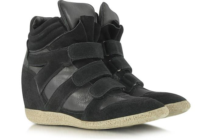 Black Suede Wedge Sneaker - Lemaré