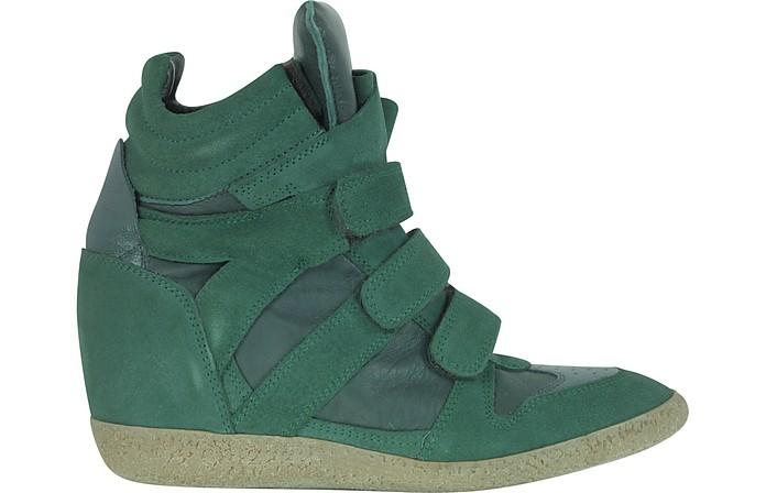 3ba56056bd6f Dark Green Suede Wedge Sneaker - Lemaré.  294.00 Actual transaction amount