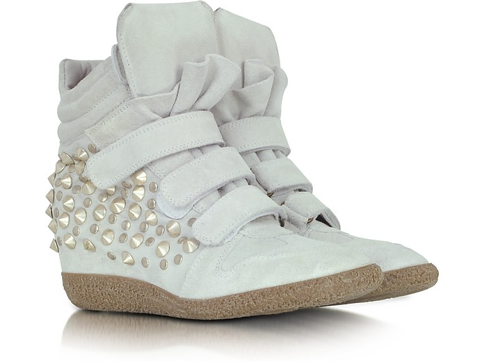 Studded White Suede Wedge Sneaker - Lemare' / レマレ