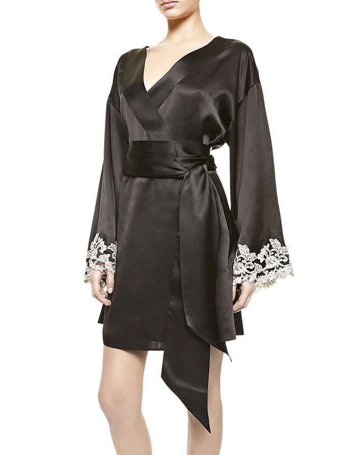 Maison Black Silk Satin Short Robe  - La Perla