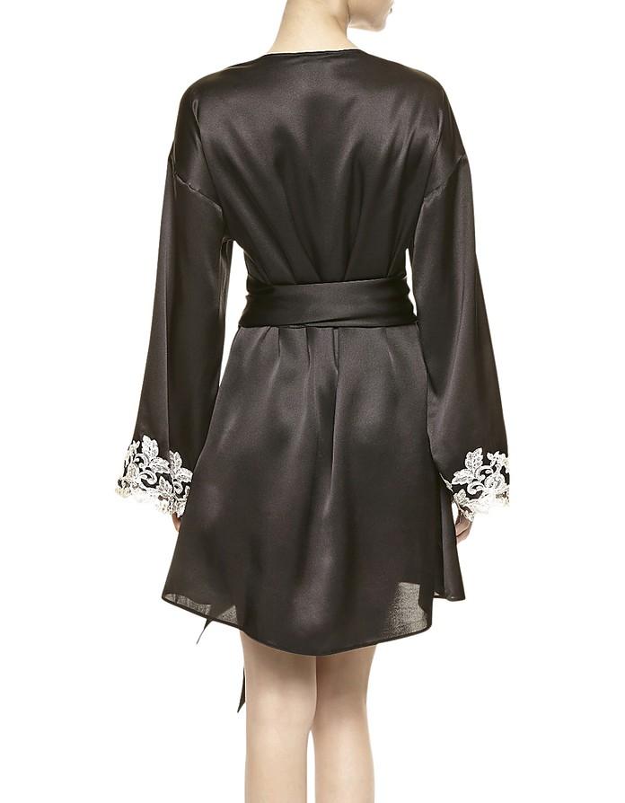 de361a8aeb La Perla Maison Black Silk Satin Short Robe US M