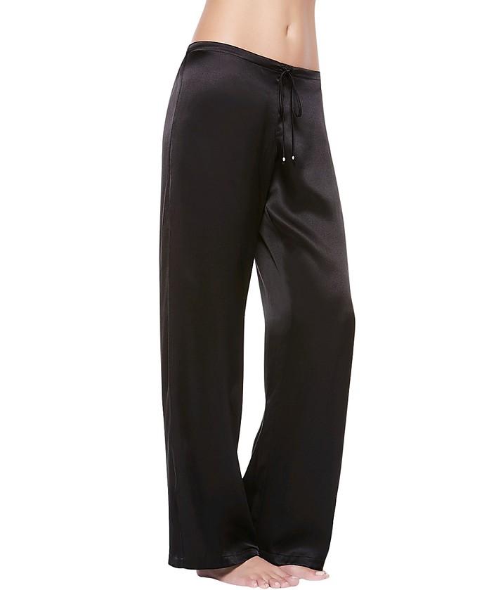 Petit Macrame Black Satin Silk Classic Trousers - La Perla