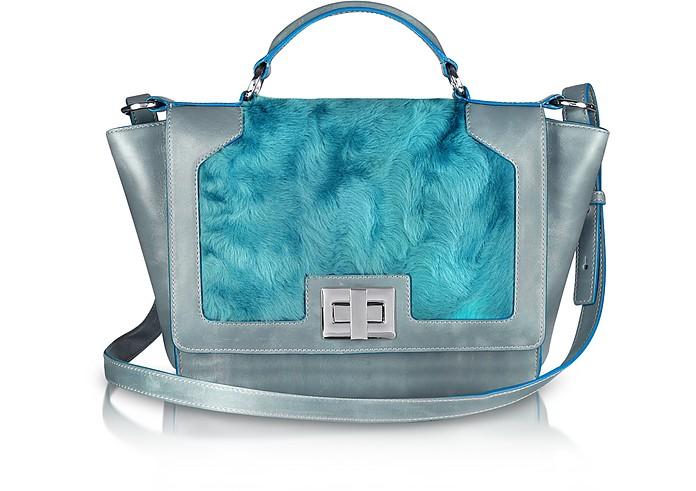 Blue Sheepskin and Gray Leather iPad Bag - Leonardo Delfuoco
