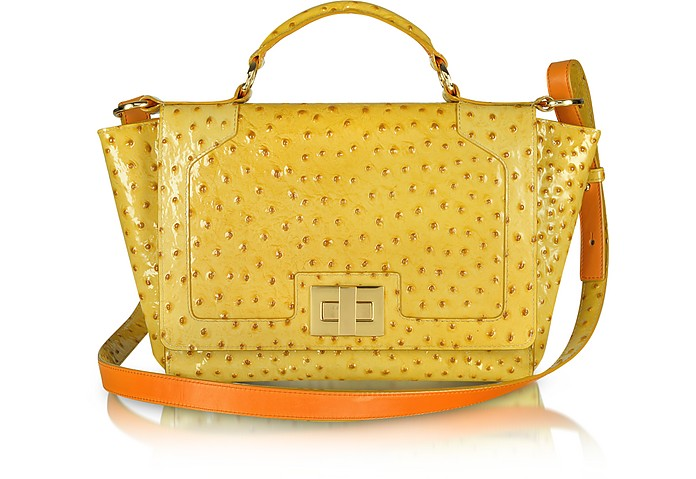 Yellow Ostrich-Embossed Leather iPad Bag - Leonardo Delfuoco