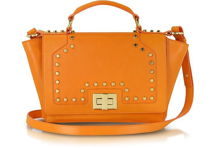Studded Orange Leather iPad Bag - Leonardo Delfuoco