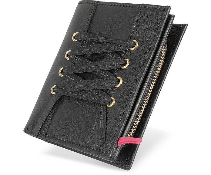 Black Leather French Purse ID Wallet - Leonardo Delfuoco
