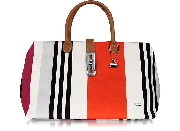 Multicolor Canvas Shoulder Tote - La Bagagerie