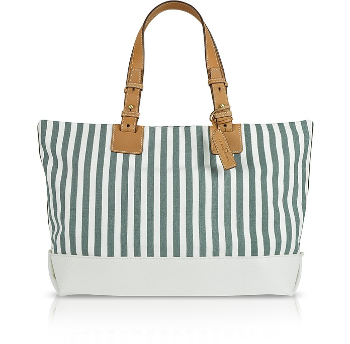 Striped Canvas and Leather Tote - La Bagagerie