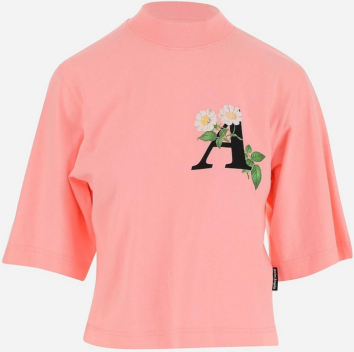 Pink Cotton Women's Shortsleeves Cropped T-shirt - Palm Angels