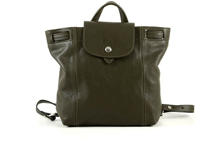 Forest Green Leather Women's Backpack - Longchamp