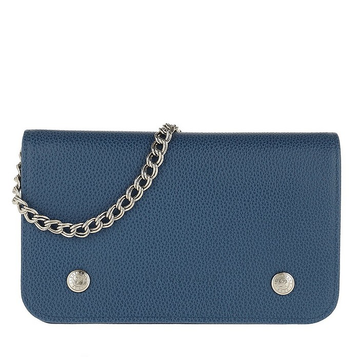Le Foulonné Wallet On Chain Leather Sapphire - Longchamp